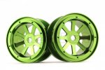 Aluminum 2.2'' 8-Spokes Black Wheels 2pcs set - Green
